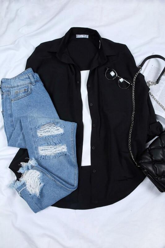 - Çift Cep Terikoton Salaş Gömlek Siyah