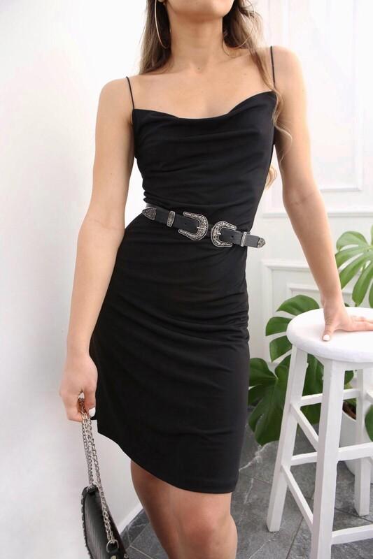 - Degaje Askılı Elbise Siyah